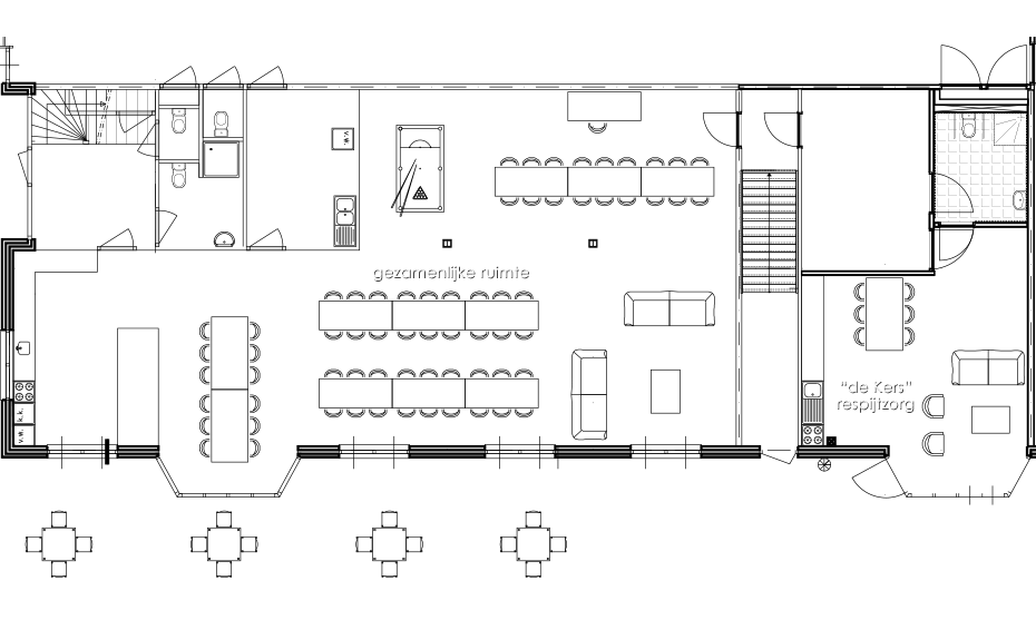 Groepsaccommodatie - De Schansehoeve - begane grond